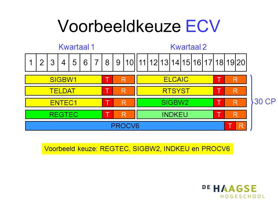 Voorbeeldkeuze ECV 1324576891110121315141617191820 PROCV6TR Kwartaal 1Kwartaal 2 RREGTECTRSIGBW2T Voorbeeld keuze: REGTEC, SIGBW2, INDKEU en PROCV6 RI