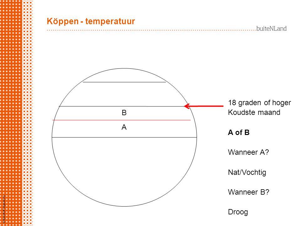 A B 18 graden of hoger Koudste maand A of B Wanneer A? Nat/Vochtig Wanneer B? Droog Köppen - temperatuur