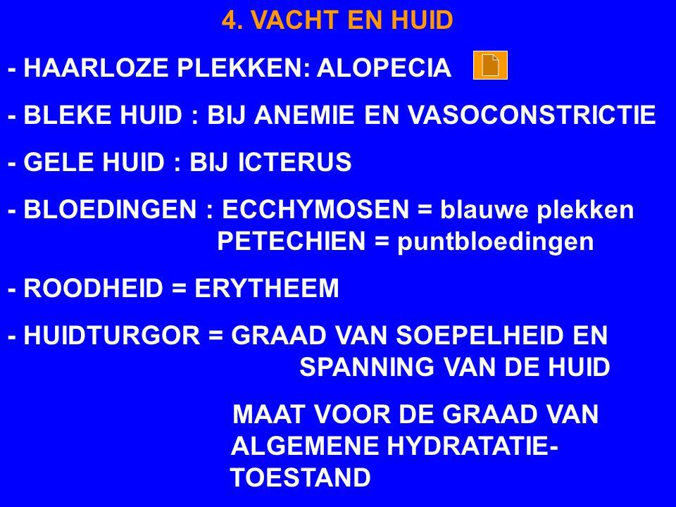 4. VACHT EN HUID - HAARLOZE PLEKKEN: ALOPECIA - BLEKE HUID : BIJ ANEMIE EN VASOCONSTRICTIE - GELE HUID : BIJ ICTERUS - BLOEDINGEN : ECCHYMOSEN = blauw