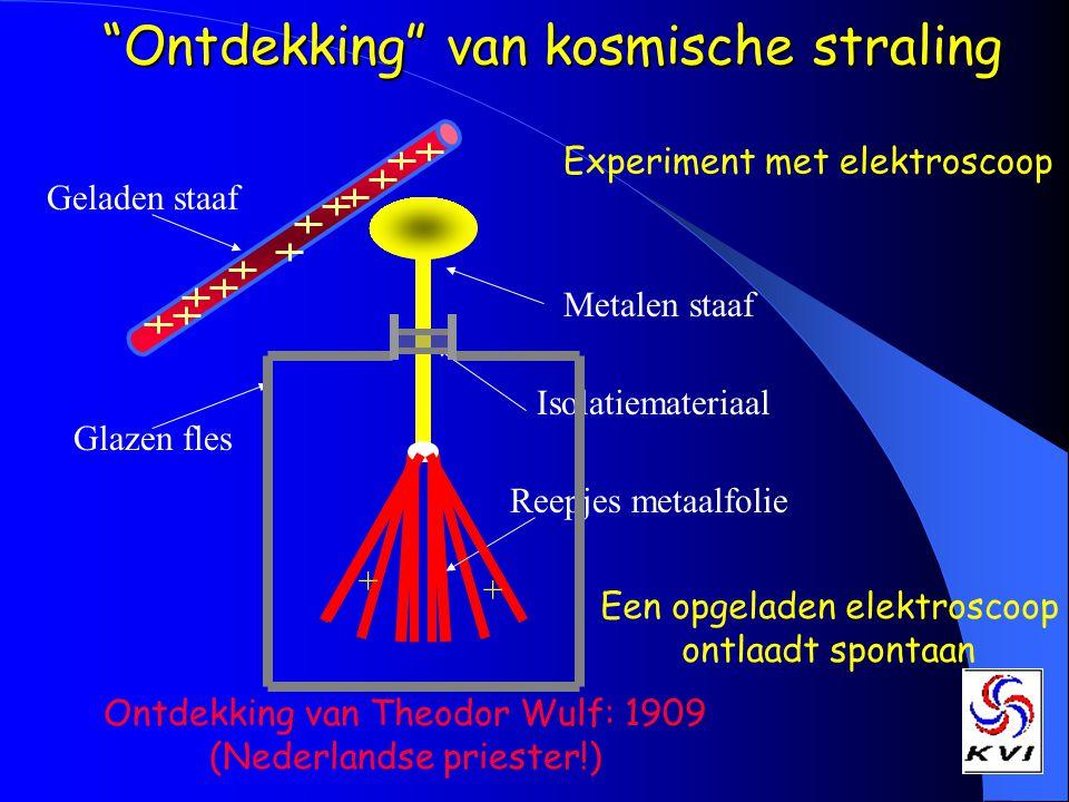 Ontdekking van kosmische straling Een opgeladen elektroscoop ontlaadt spontaan Experiment met elektroscoop Metalen staaf Reepjes metaalfolie Glazen fles Isolatiemateriaal Ontdekking van Theodor Wulf: 1909 (Nederlandse priester!) Geladen staaf + +