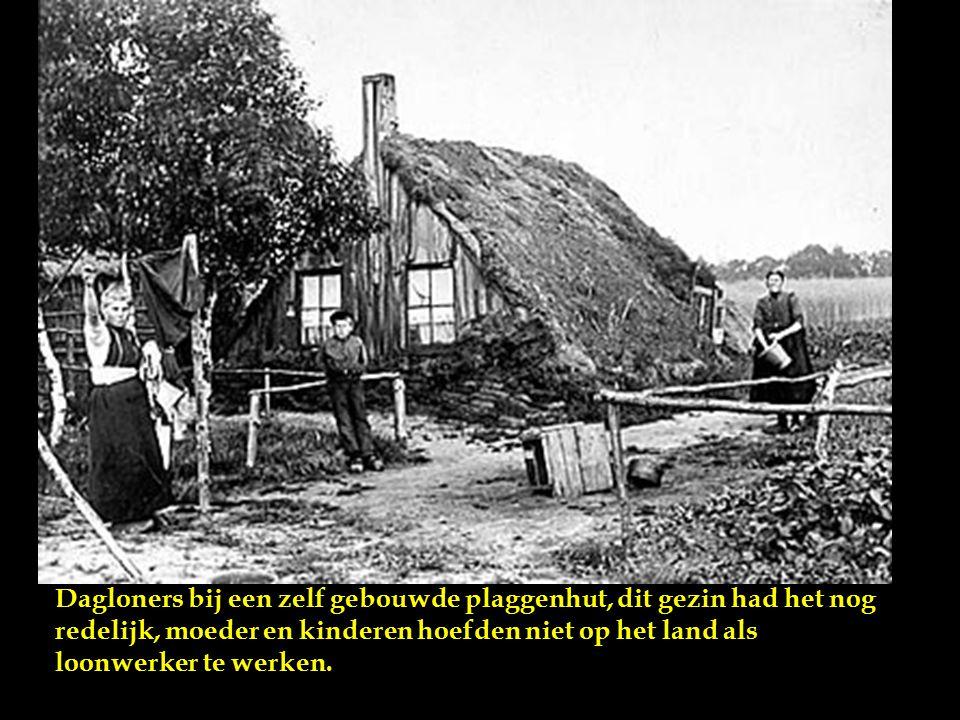 Plaggenhut te Onstwedde, de muren van de hut bestonden uit turven en plaggen, deels bedekt met schollen en planken. De kamer mat 3 bij 3 meter en was