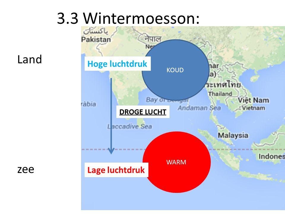 3.3 Wintermoesson: Land zee KOUD WARM Lage luchtdruk Hoge luchtdruk DROGE LUCHT