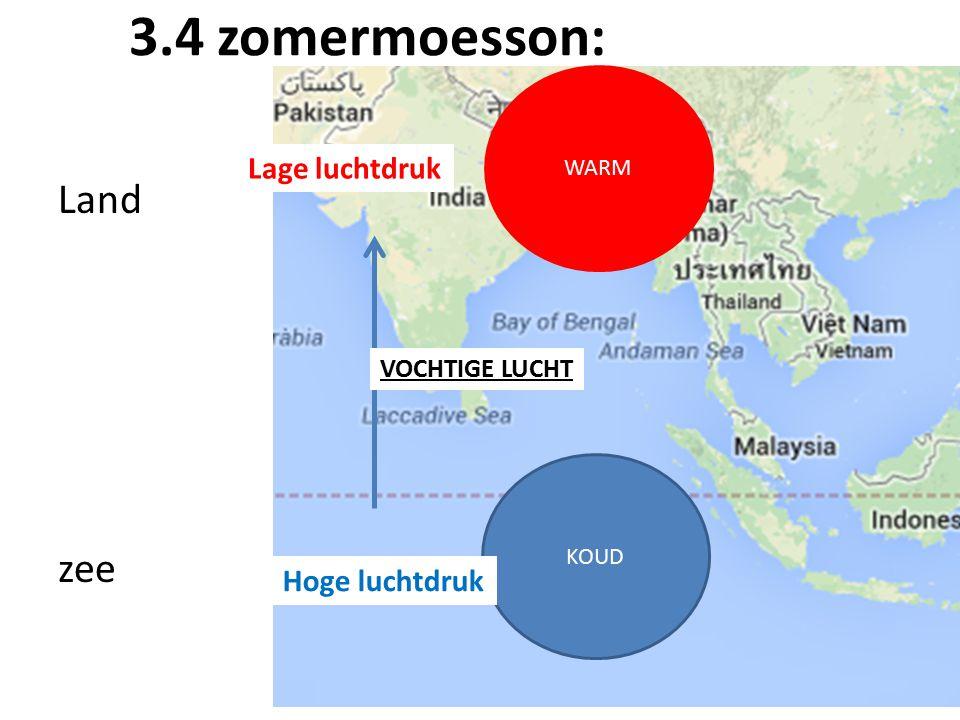 3.4 zomermoesson: Land zee KOUD WARM Lage luchtdruk Hoge luchtdruk VOCHTIGE LUCHT