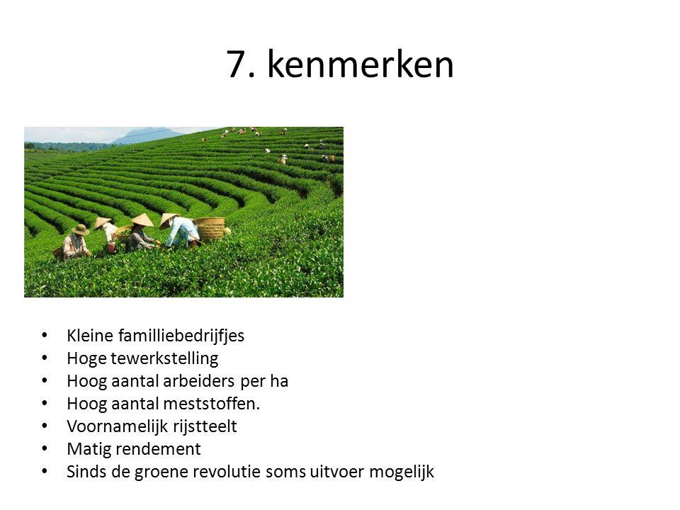 Kleine familliebedrijfjes Hoge tewerkstelling Hoog aantal arbeiders per ha Hoog aantal meststoffen. Voornamelijk rijstteelt Matig rendement Sinds de g