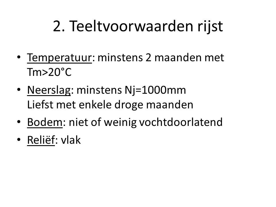 2. Teeltvoorwaarden rijst Temperatuur: minstens 2 maanden met Tm>20°C Neerslag: minstens Nj=1000mm Liefst met enkele droge maanden Bodem: niet of wein