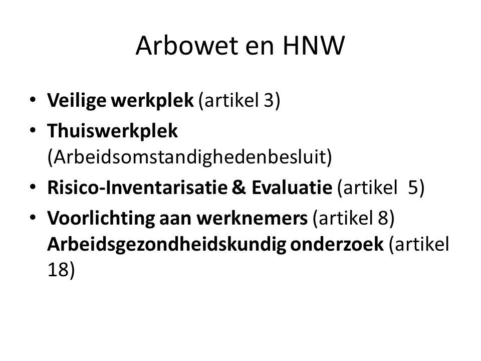 Arbowet en HNW Veilige werkplek (artikel 3) Thuiswerkplek (Arbeidsomstandighedenbesluit) Risico-Inventarisatie & Evaluatie (artikel 5) Voorlichting aan werknemers (artikel 8) Arbeidsgezondheidskundig onderzoek (artikel 18)