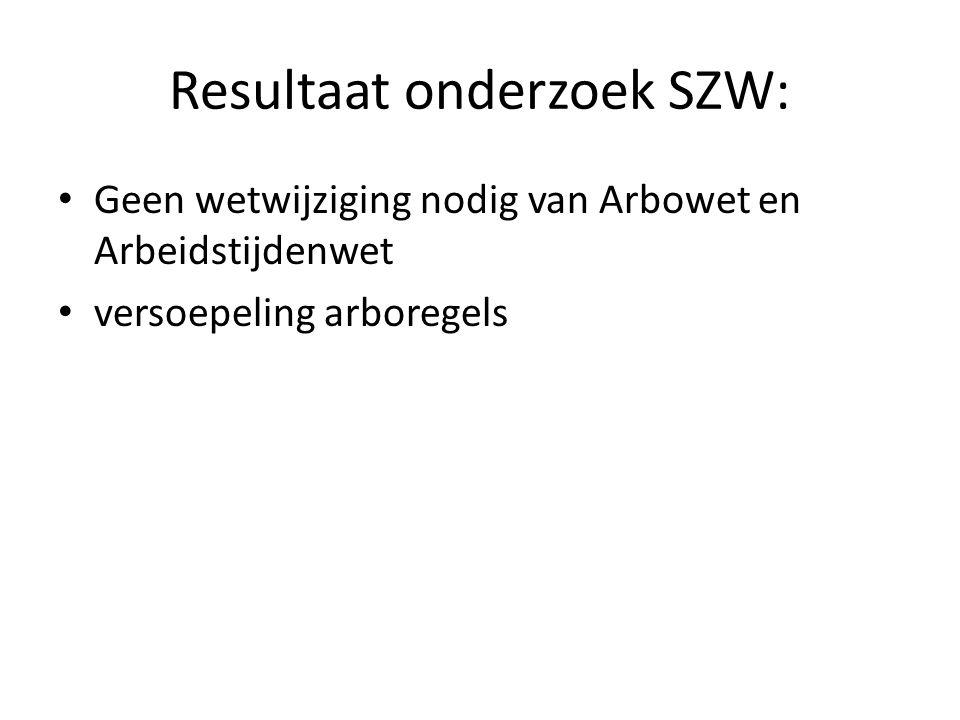 Resultaat onderzoek SZW: Geen wetwijziging nodig van Arbowet en Arbeidstijdenwet versoepeling arboregels