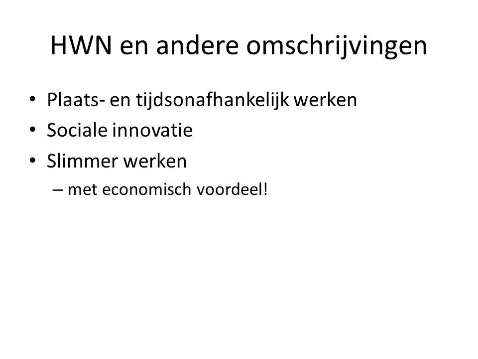 HWN en andere omschrijvingen Plaats- en tijdsonafhankelijk werken Sociale innovatie Slimmer werken – met economisch voordeel!