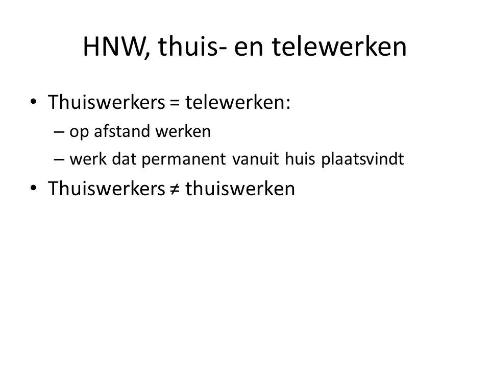 HNW, thuis- en telewerken Thuiswerkers = telewerken: – op afstand werken – werk dat permanent vanuit huis plaatsvindt Thuiswerkers ≠ thuiswerken
