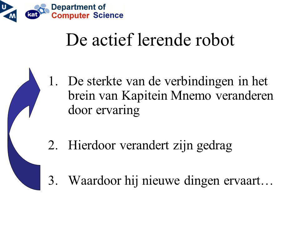 De actief lerende robot 1.De sterkte van de verbindingen in het brein van Kapitein Mnemo veranderen door ervaring 2.Hierdoor verandert zijn gedrag 3.W