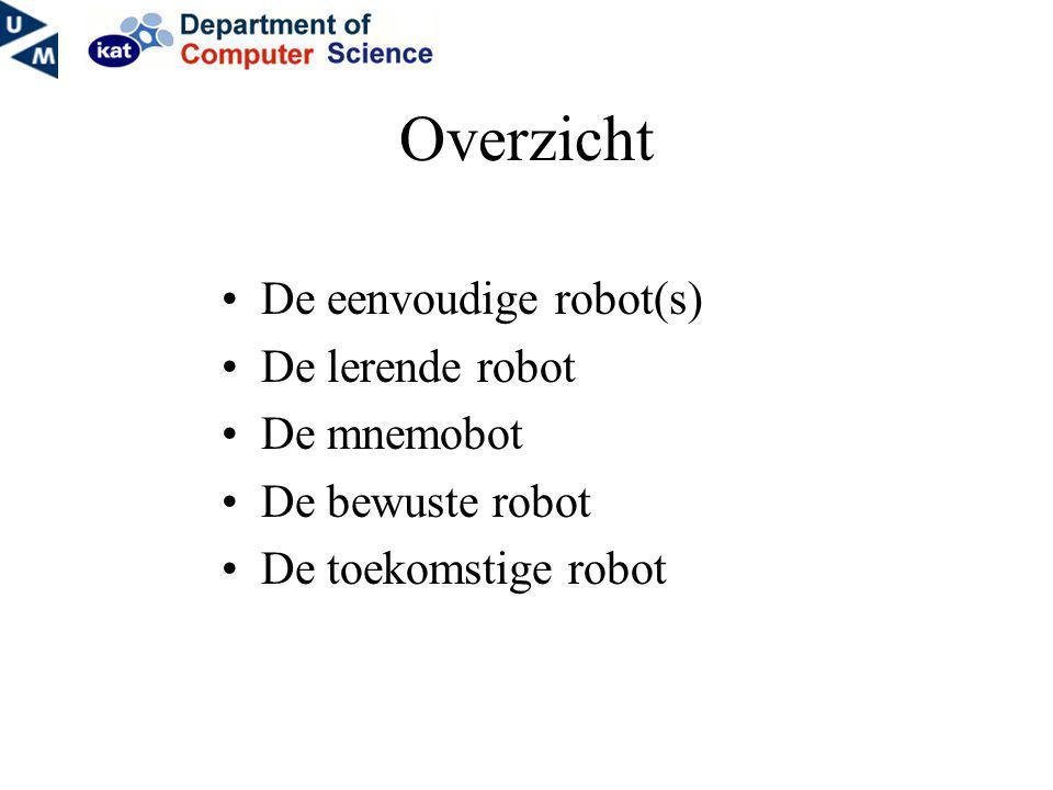 Overzicht De eenvoudige robot(s) De lerende robot De mnemobot De bewuste robot De toekomstige robot