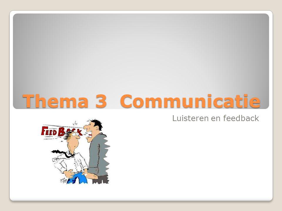 Thema 3 Communicatie Luisteren en feedback