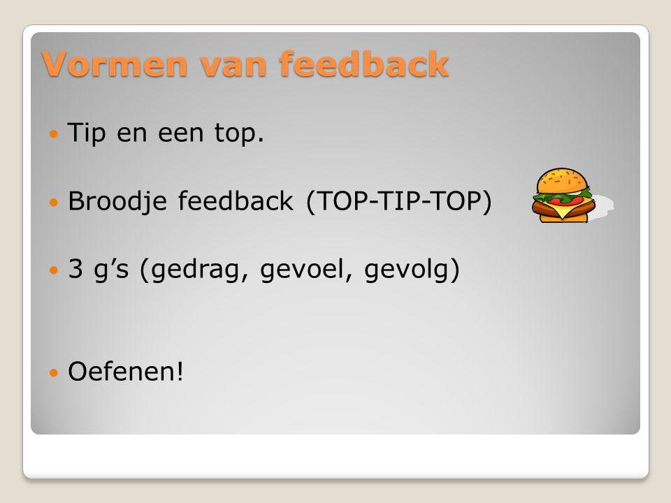 Vormen van feedback Tip en een top. Broodje feedback (TOP-TIP-TOP) 3 g's (gedrag, gevoel, gevolg) Oefenen!