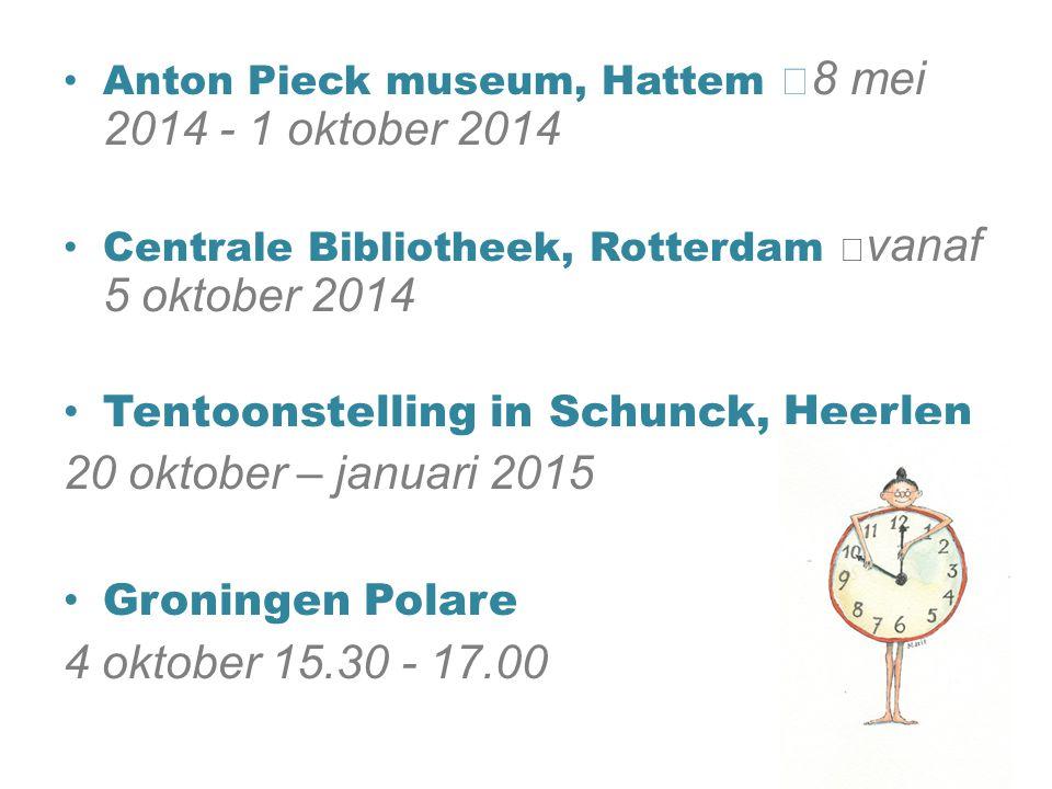 Anton Pieck museum, Hattem 8 mei 2014 - 1 oktober 2014 Centrale Bibliotheek, Rotterdam vanaf 5 oktober 2014 Tentoonstelling in Schunck, Heerlen 20 okt