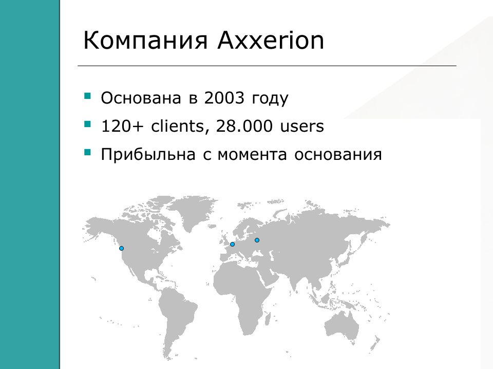 Axxerion – Workplace and Facility Automation Компания Axxerion  Основана в 2003 году  120+ clients, 28.000 users  Прибыльна с момента основания