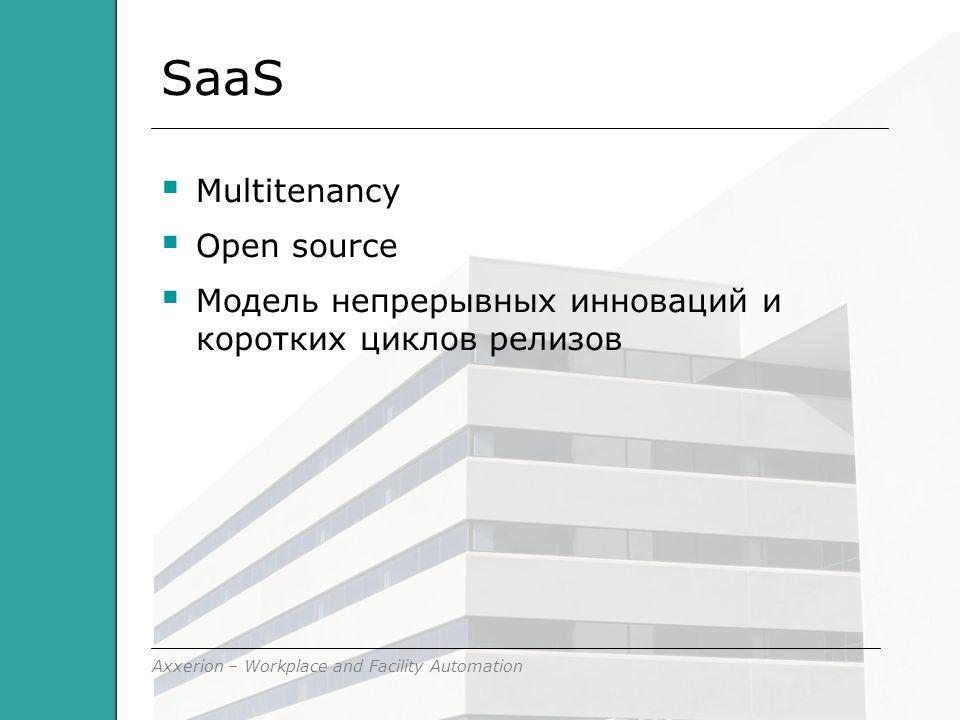 Axxerion – Workplace and Facility Automation SaaS  Multitenancy  Open source  Модель непрерывных инноваций и коротких циклов релизов