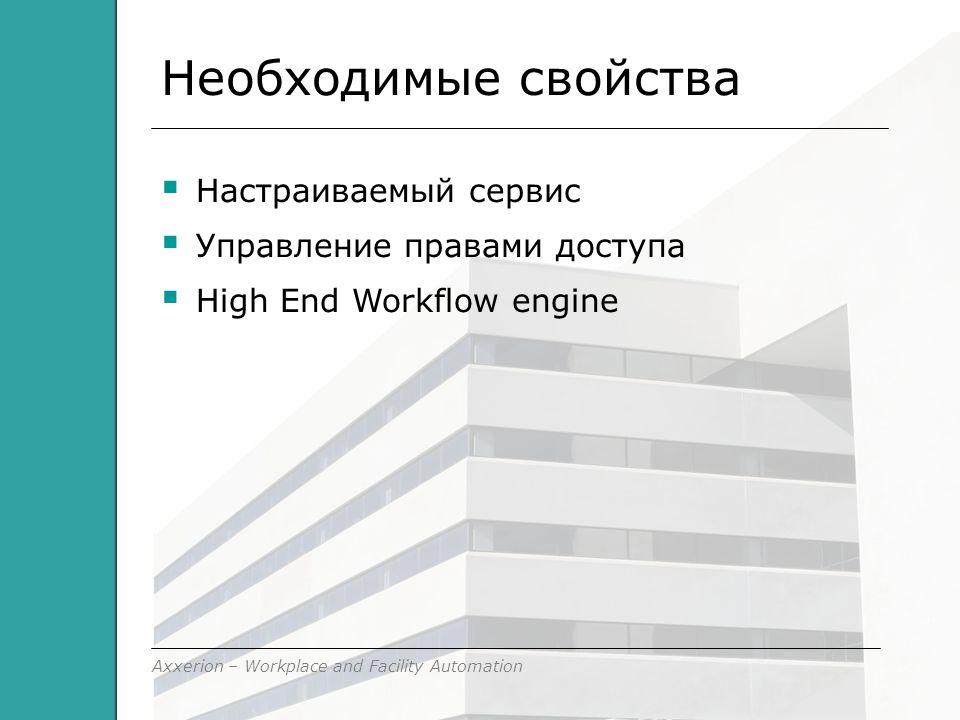 Axxerion – Workplace and Facility Automation Необходимые свойства  Настраиваемый сервис  Управление правами доступа  High End Workflow engine