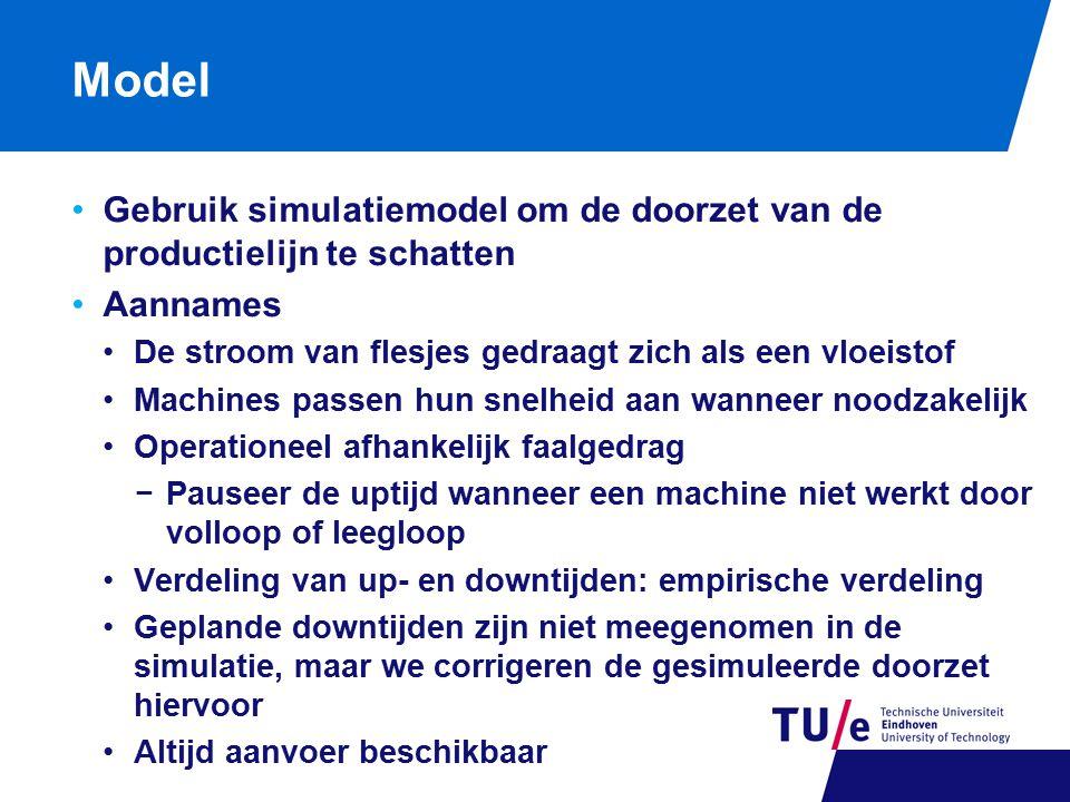 Model Gebruik simulatiemodel om de doorzet van de productielijn te schatten Aannames De stroom van flesjes gedraagt zich als een vloeistof Machines pa