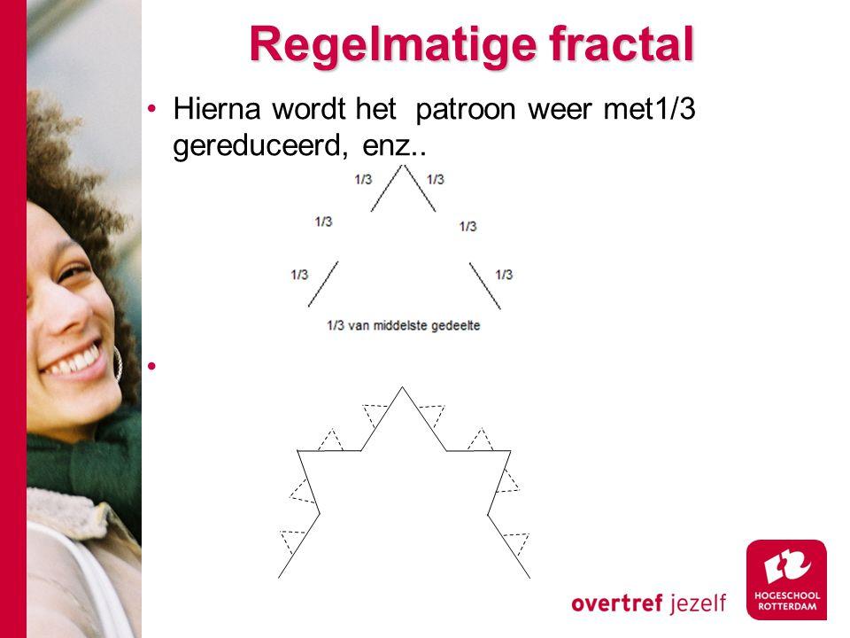 Regelmatige fractal Hierna wordt het patroon weer met1/3 gereduceerd, enz..