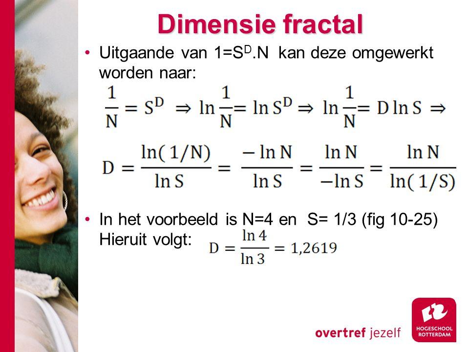 Dimensie fractal Uitgaande van 1=S D.N kan deze omgewerkt worden naar: In het voorbeeld is N=4 en S= 1/3 (fig 10-25) Hieruit volgt: