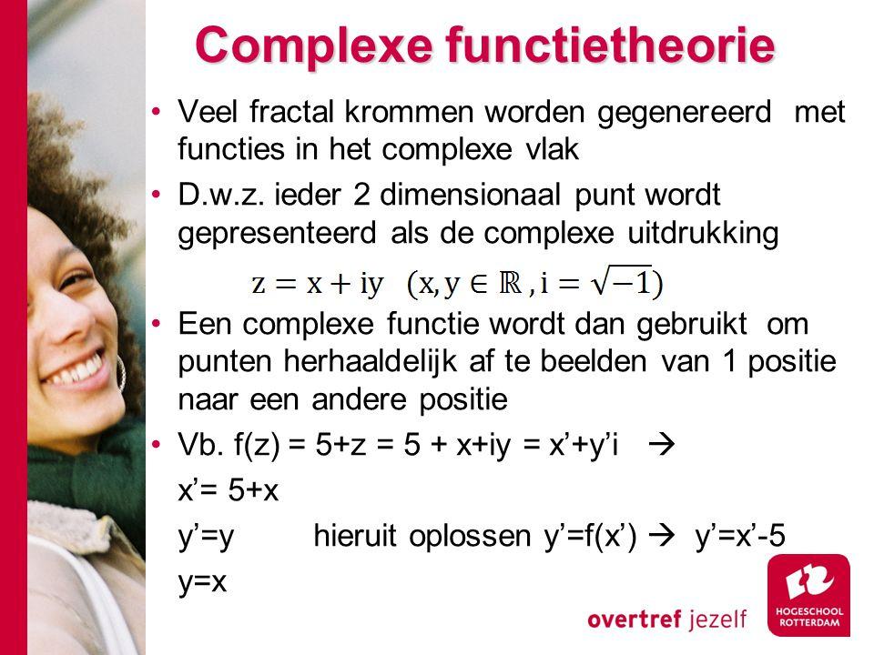 Complexe functietheorie Veel fractal krommen worden gegenereerd met functies in het complexe vlak D.w.z.