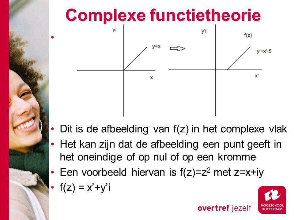 Complexe functietheorie Dit is de afbeelding van f(z) in het complexe vlak Het kan zijn dat de afbeelding een punt geeft in het oneindige of op nul of op een kromme Een voorbeeld hiervan is f(z)=z 2 met z=x+iy f(z) = x'+y'i