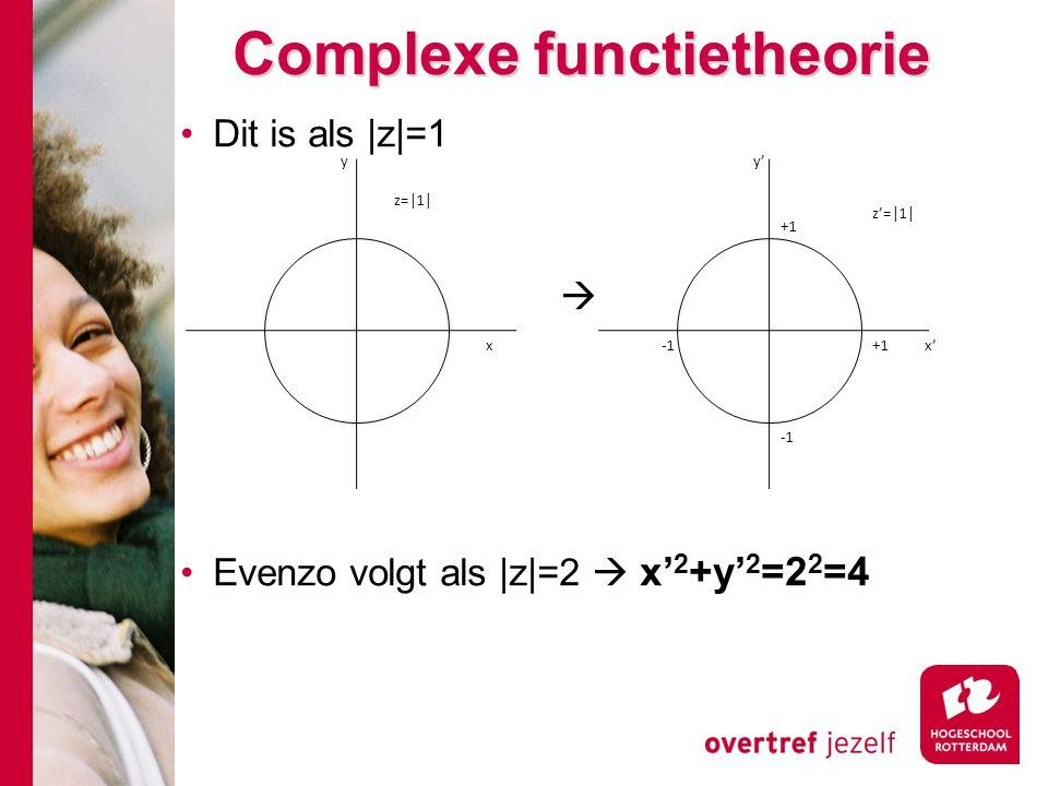 Complexe functietheorie Dit is als |z|=1  Evenzo volgt als |z|=2  x' 2 +y' 2 =2 2 =4 z'=|1| x' y' +1 -1 z=|1| y x
