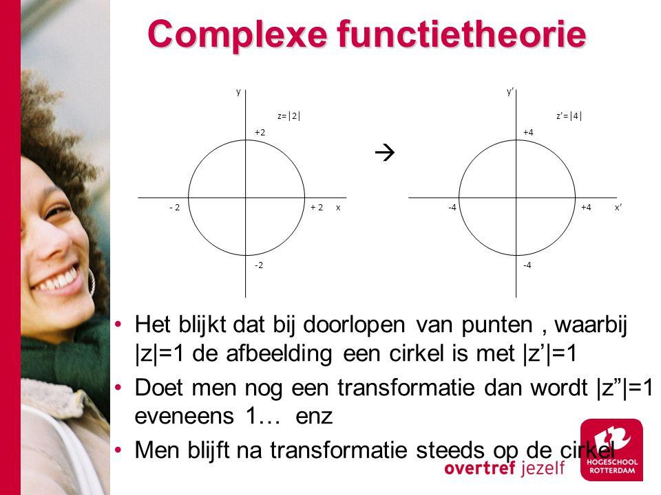 Complexe functietheorie  Het blijkt dat bij doorlopen van punten, waarbij |z|=1 de afbeelding een cirkel is met |z'|=1 Doet men nog een transformatie dan wordt |z |=1 eveneens 1… enz Men blijft na transformatie steeds op de cirkel z=|2| y x -2 +2 z'=|4| x' y' -4-4 +4 -4-4