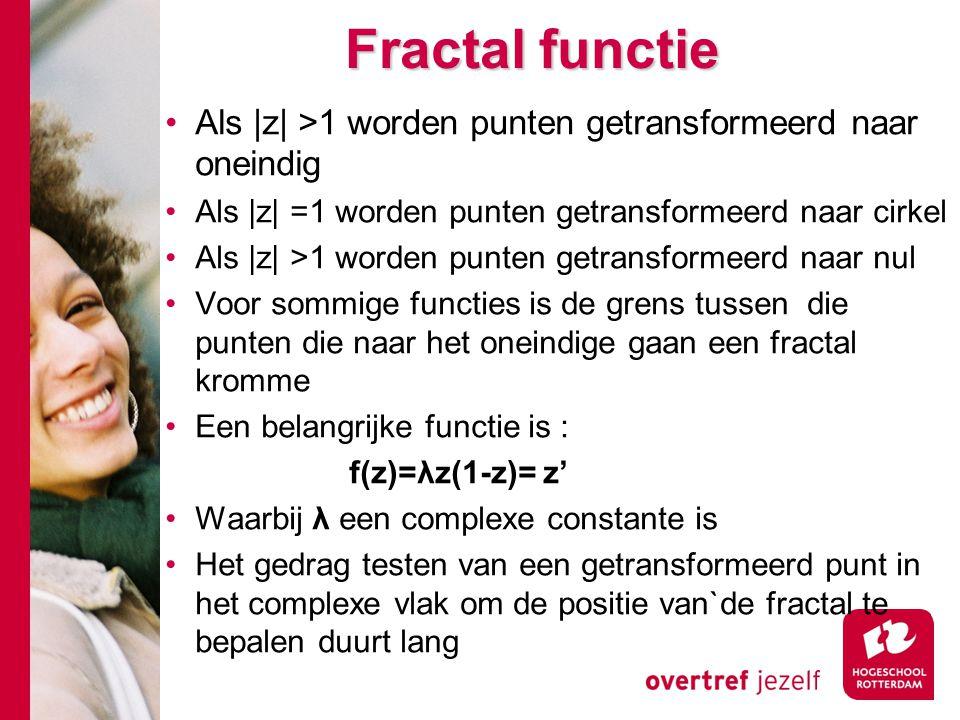 Fractal functie Als |z| >1 worden punten getransformeerd naar oneindig Als |z| =1 worden punten getransformeerd naar cirkel Als |z| >1 worden punten getransformeerd naar nul Voor sommige functies is de grens tussen die punten die naar het oneindige gaan een fractal kromme Een belangrijke functie is : f(z)=λz(1-z)= z' Waarbij λ een complexe constante is Het gedrag testen van een getransformeerd punt in het complexe vlak om de positie van`de fractal te bepalen duurt lang