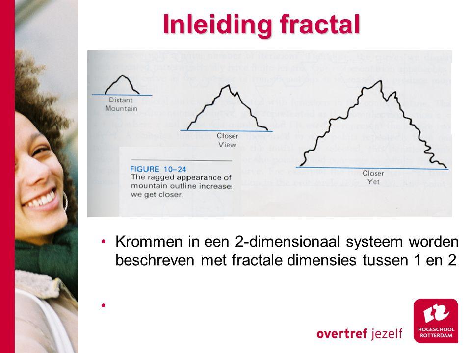 Inleiding fractal Krommen in een 2-dimensionaal systeem worden beschreven met fractale dimensies tussen 1 en 2
