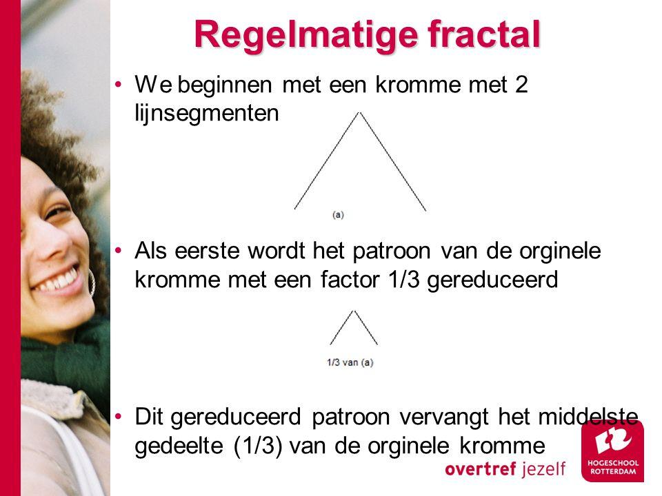 Regelmatige fractal We beginnen met een kromme met 2 lijnsegmenten Als eerste wordt het patroon van de orginele kromme met een factor 1/3 gereduceerd Dit gereduceerd patroon vervangt het middelste gedeelte (1/3) van de orginele kromme