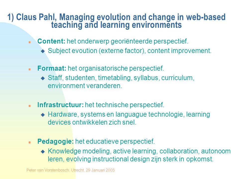 Peter van Vorstenbosch, Utrecht, 29 Januari 2005 n Curriculum sequencing.