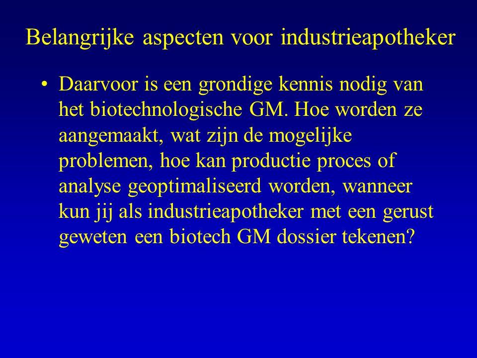 Aandachtspunten voor recombinante GM Zie GUIDELINE