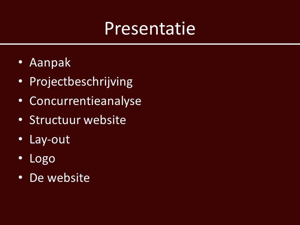 Presentatie Aanpak Projectbeschrijving Concurrentieanalyse Structuur website Lay-out Logo De website