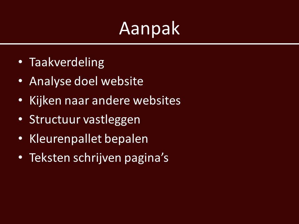 Aanpak Taakverdeling Analyse doel website Kijken naar andere websites Structuur vastleggen Kleurenpallet bepalen Teksten schrijven pagina's
