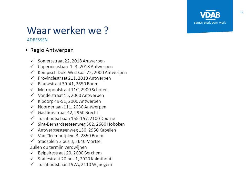 Waar werken we ? ADRESSEN Regio Antwerpen Somersstraat 22, 2018 Antwerpen Copernicuslaan 1- 3, 2018 Antwerpen Kempisch Dok- Westkaai 72, 2000 Antwerpe