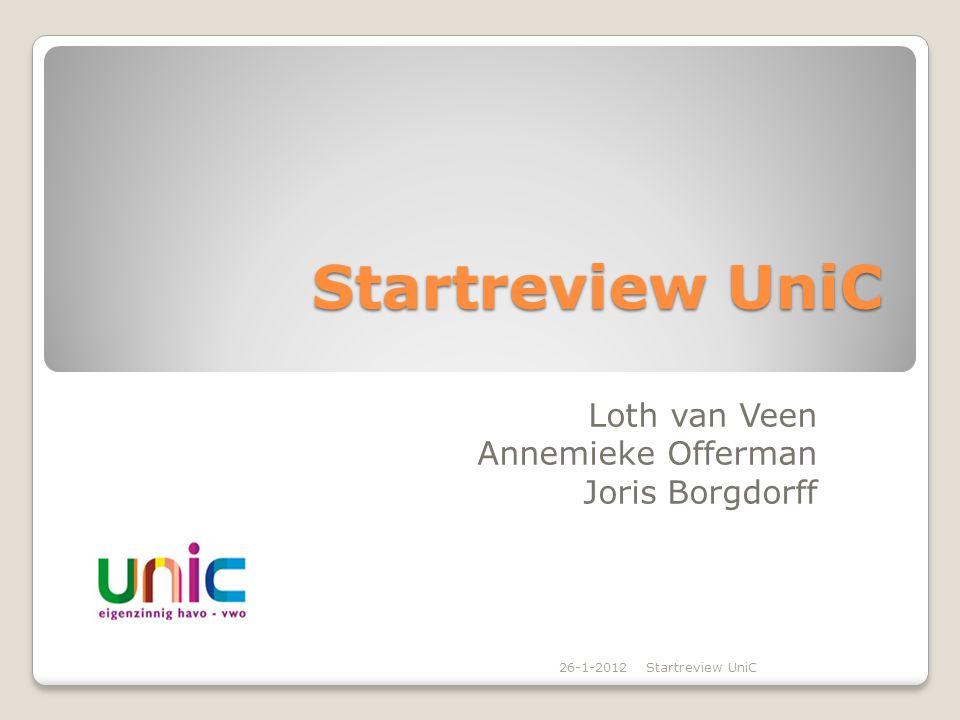 Startreview UniC Loth van Veen Annemieke Offerman Joris Borgdorff 26-1-2012Startreview UniC