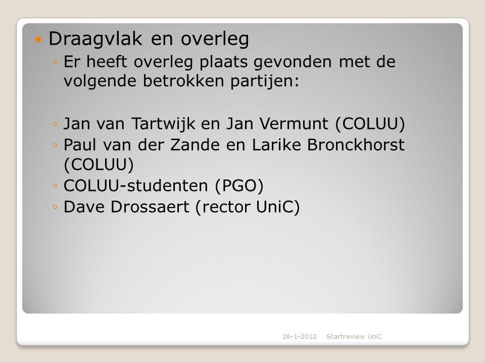 Draagvlak en overleg ◦Er heeft overleg plaats gevonden met de volgende betrokken partijen: ◦Jan van Tartwijk en Jan Vermunt (COLUU) ◦Paul van der Zand