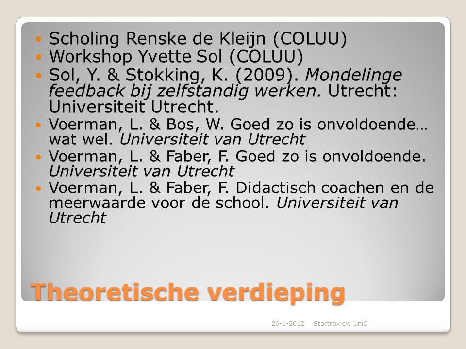 Theoretische verdieping Scholing Renske de Kleijn (COLUU) Workshop Yvette Sol (COLUU) Sol, Y. & Stokking, K. (2009). Mondelinge feedback bij zelfstand