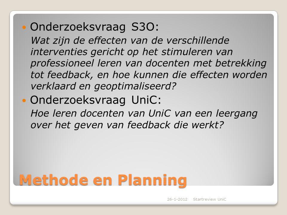 Korte omschrijving interventie Op UniC zetten we een leergang op over feedback 10 bijeenkomsten In het cursusjaar 2012/2013 Werkvormen: ◦Intervisie ◦Video-interactie begeleiding ◦Hoorcolleges van externe experts ◦Training door externe experts ◦Lesbezoeken 26-1-2012Startreview UniC