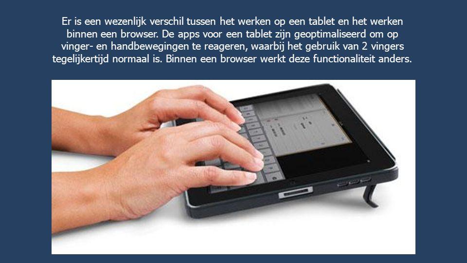Er is een wezenlijk verschil tussen het werken op een tablet en het werken binnen een browser.