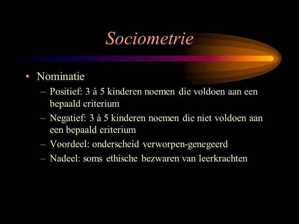Sociometrie Nominatie –Positief: 3 à 5 kinderen noemen die voldoen aan een bepaald criterium –Negatief: 3 à 5 kinderen noemen die niet voldoen aan een