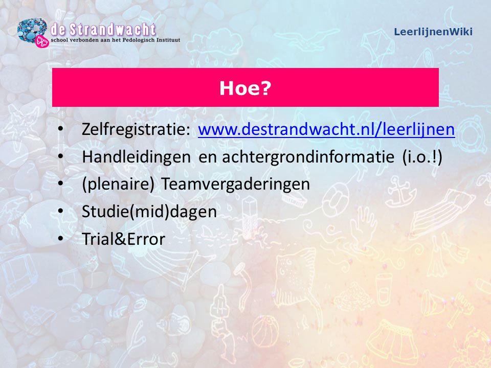 Zelfregistratie: www.destrandwacht.nl/leerlijnenwww.destrandwacht.nl/leerlijnen Handleidingen en achtergrondinformatie (i.o.!) (plenaire) Teamvergader