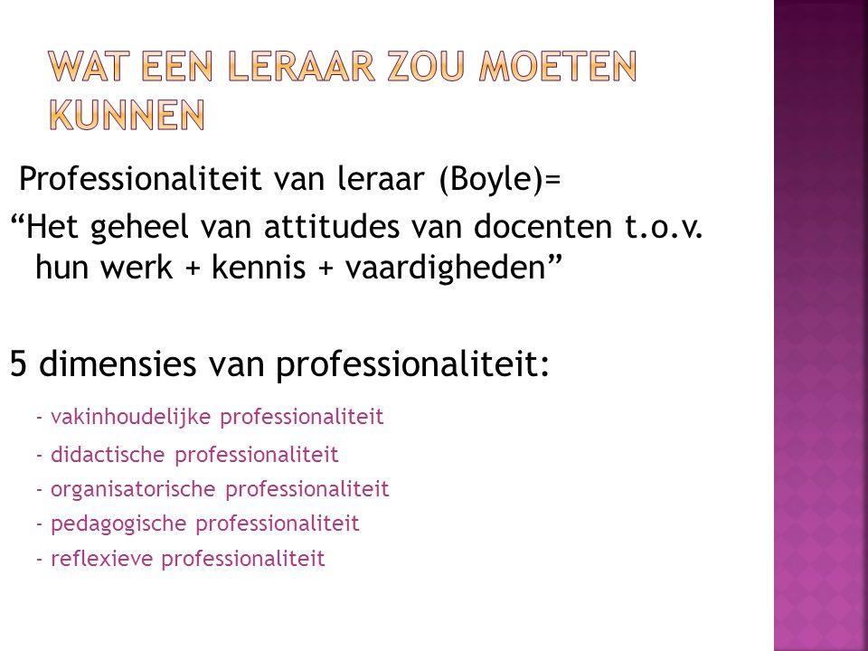 """Professionaliteit van leraar (Boyle)= """"Het geheel van attitudes van docenten t.o.v. hun werk + kennis + vaardigheden"""" 5 dimensies van professionalitei"""