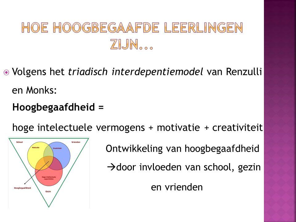  Volgens het triadisch interdepentiemodel van Renzulli en Monks: Hoogbegaafdheid = hoge intelectuele vermogens + motivatie + creativiteit Ontwikkelin