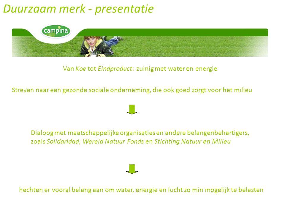 Duurzaam merk - presentatie Van Koe tot Eindproduct: zuinig met water en energie Streven naar een gezonde sociale onderneming, die ook goed zorgt voor