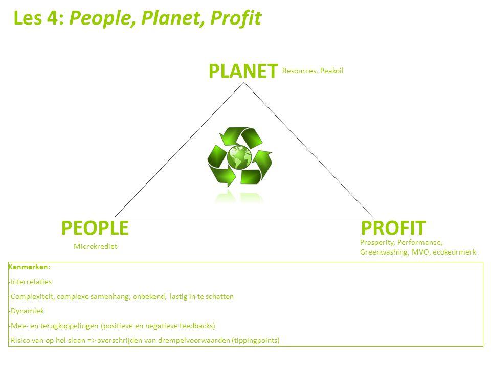 Les 4: People, Planet, Profit PLANET PEOPLE PROFIT Resources, Peakoil Microkrediet Prosperity, Performance, Greenwashing, MVO, ecokeurmerk Kenmerken: