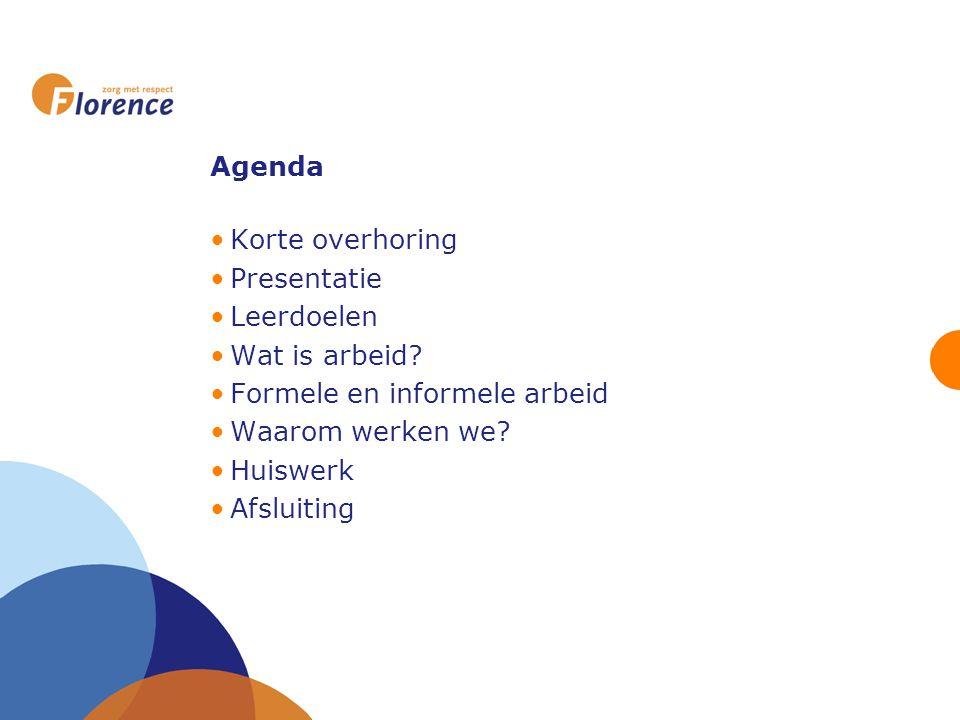 Agenda Korte overhoring Presentatie Leerdoelen Wat is arbeid? Formele en informele arbeid Waarom werken we? Huiswerk Afsluiting