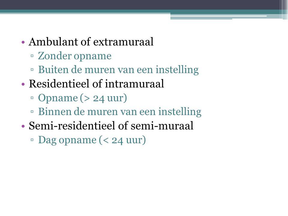 Ambulant of extramuraal ▫Zonder opname ▫Buiten de muren van een instelling Residentieel of intramuraal ▫Opname (> 24 uur) ▫Binnen de muren van een instelling Semi-residentieel of semi-muraal ▫Dag opname (< 24 uur)