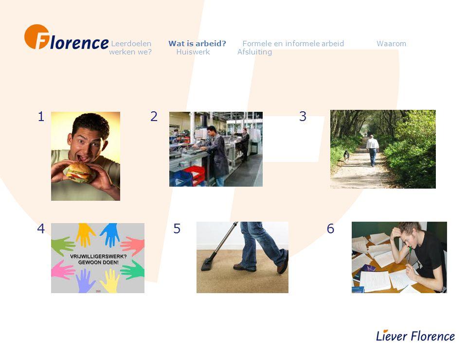 Leerdoelen Wat is arbeid? Formele en informele arbeid Waarom werken we? Huiswerk Afsluiting 1 2 3 4 5 6